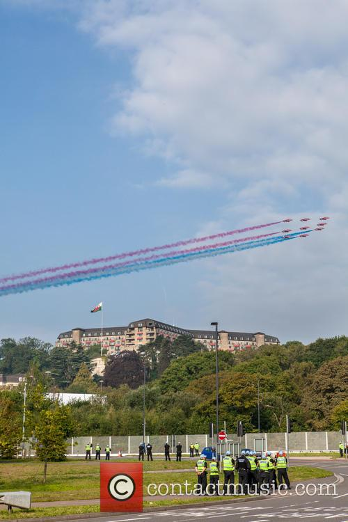 The Red Arrows fly over the NATO Summit...