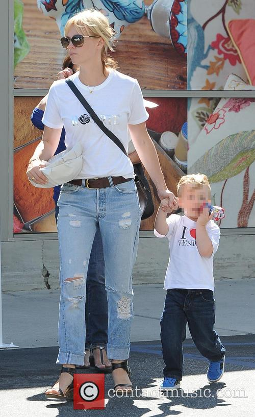 January Jones and son Xander out and about...