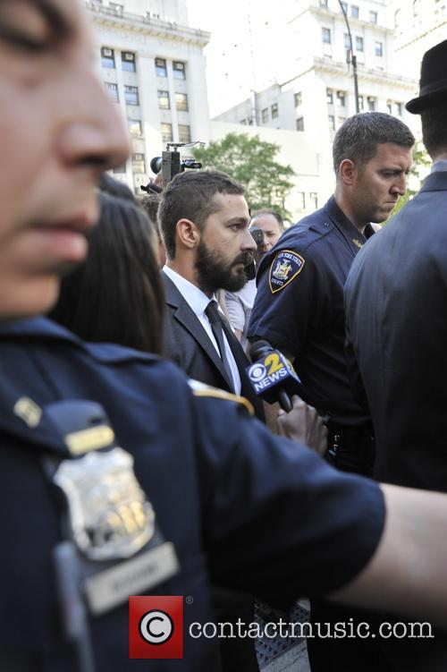 Shia Labouf leaving court in New York
