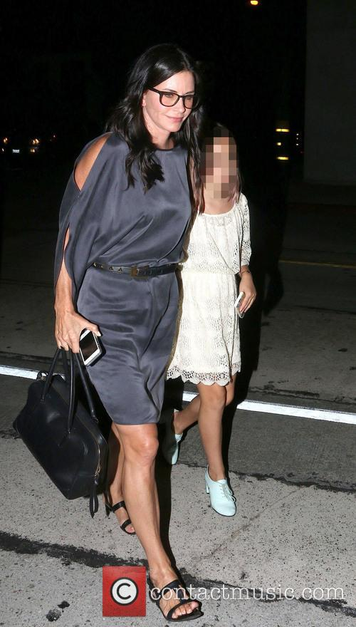 Courteney Cox arriving at Craig's with her family