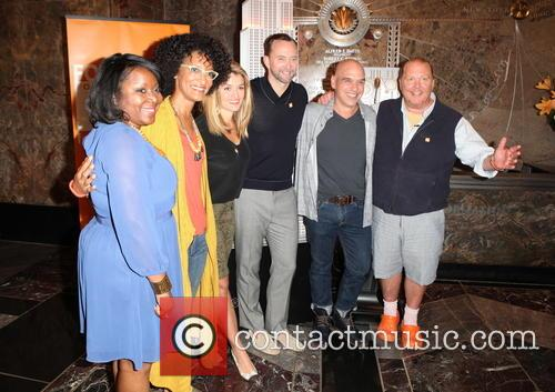 From Lto R, Margarette Purvis, Carla Hall, Guests, Clinton Kelly and Mario Batali