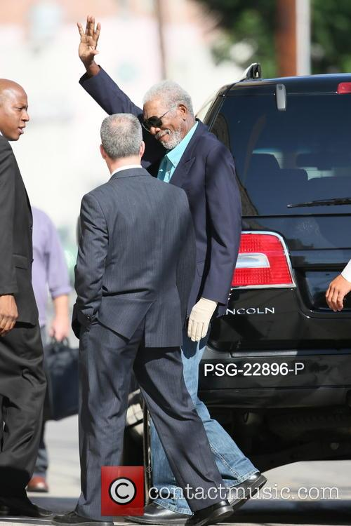 Morgan Freeman arriving for a taping of the...