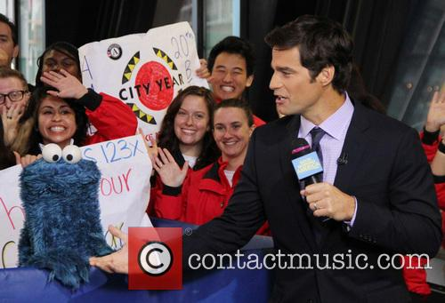 Cookie Monster and Rob Marciano  Weather Host 2