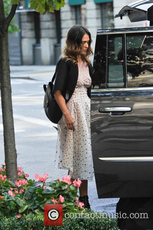 Jessica Alba leaves her hotel in Manhatten