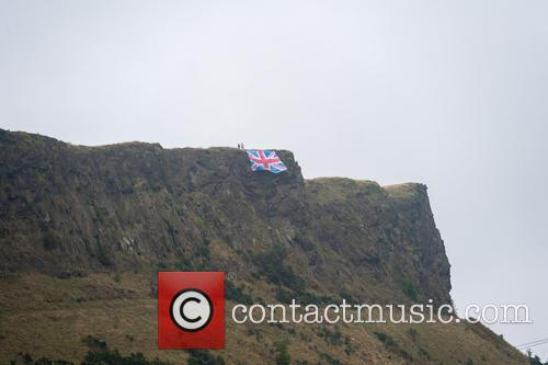 No campaigners place a massive Union Flag on...