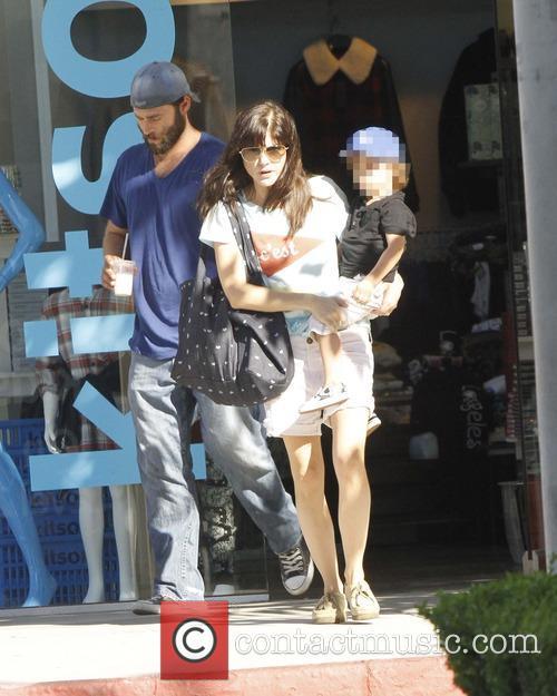 Selma Blair carries her son Arthur Bleick as...