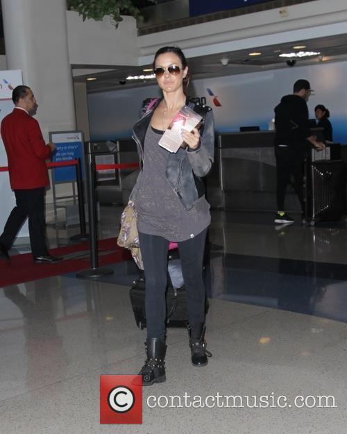 Sasha Barrese leaving Los Angeles International Airport