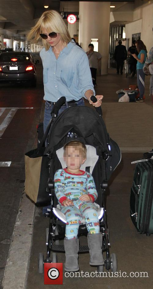 January Jones and her son at Los Angeles...