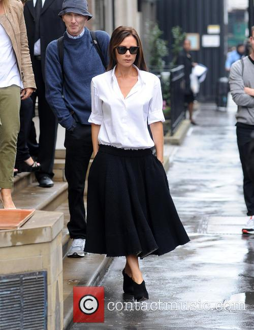 Victoria Beckham pictured leaving her shop