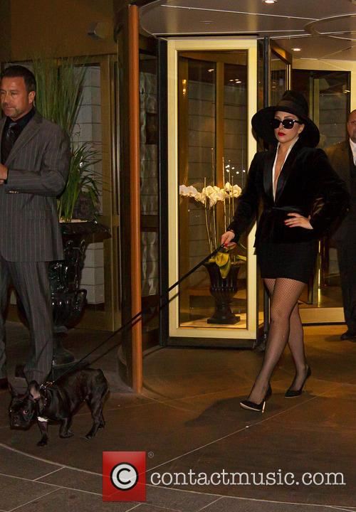 Lady Gaga leaving the Grand Hotel