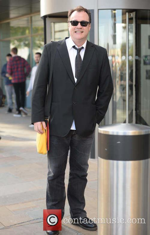 Russell T Davies outside MediaCityUK in Manchester