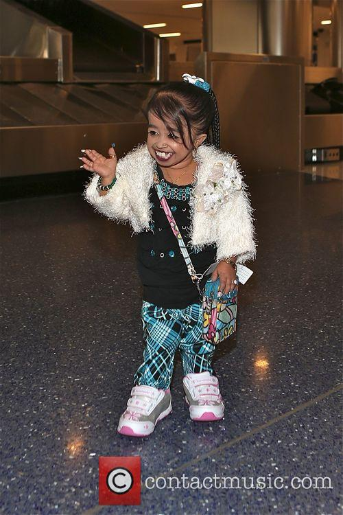 Jyoti Amge arrives at Los Angeles International (LAX)...