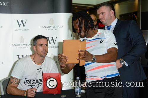 Kevin Pieterson signs copies of his new autobiography...