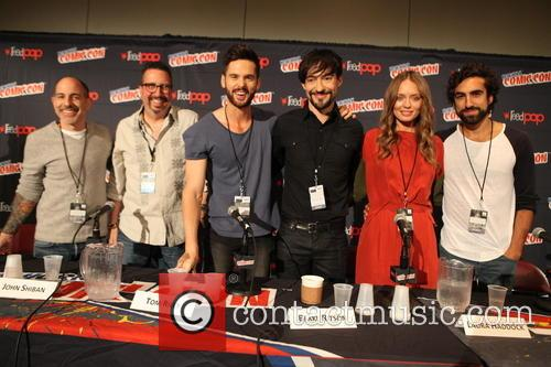 Da Vinci's Demons Casts From L To R, David S. Goyer, John Shiban, Tom Riley, Blake Ritson, Laura Haddock and Gregg Chillin