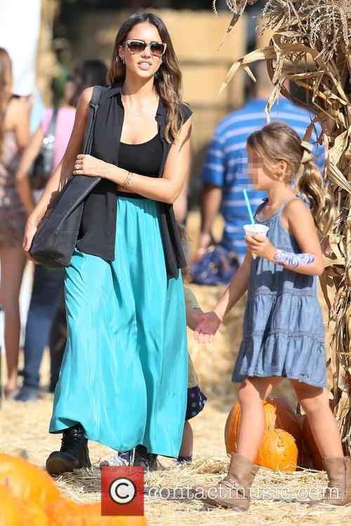 Jessica Alba visits Mr. Bones Pumpkin Patch with...