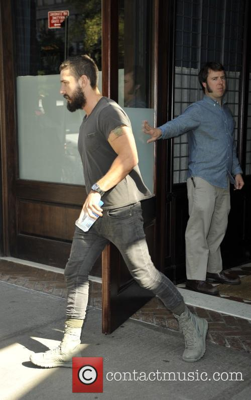 Shia Labeouf leaving his hotel