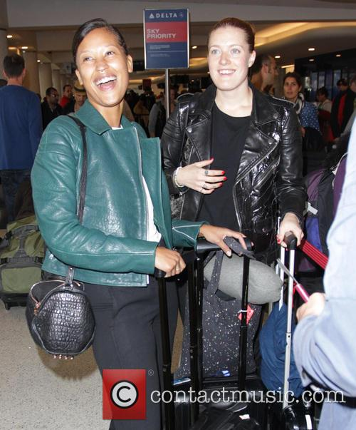 Icona Pop arrive at Los Angeles International (LAX)...