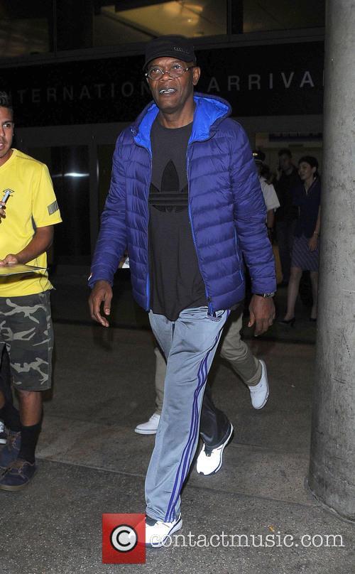 Samuel L. Jackson arriving at Los Angeles International...