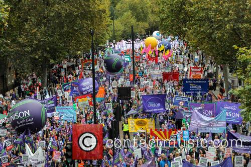 Britain Needs A Payrise TUC demonstration in London.