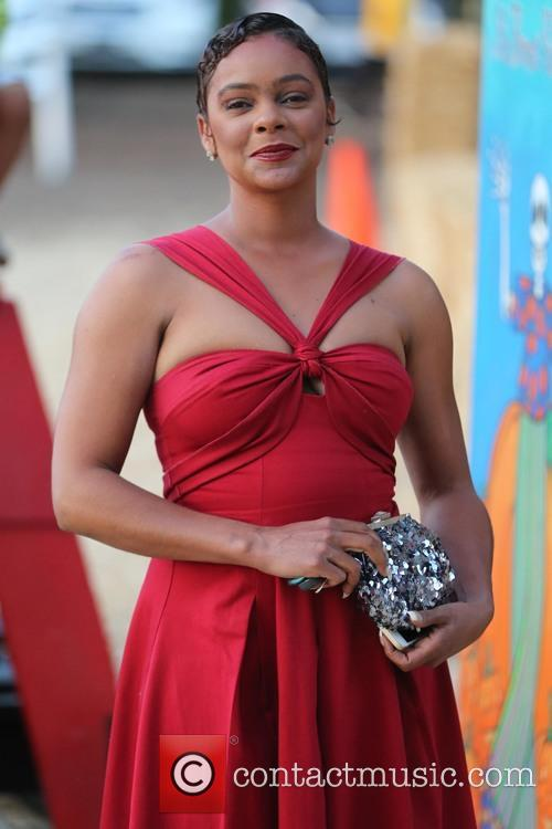 Lark Voorhies arrives at Mr Bones