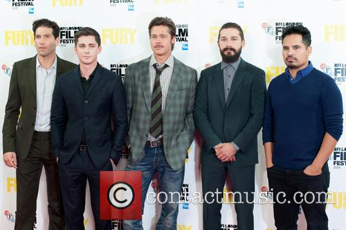 Logan Lerman, Brad Pitt, Michael Pena, Shia Labeouf and Jon Bernthal