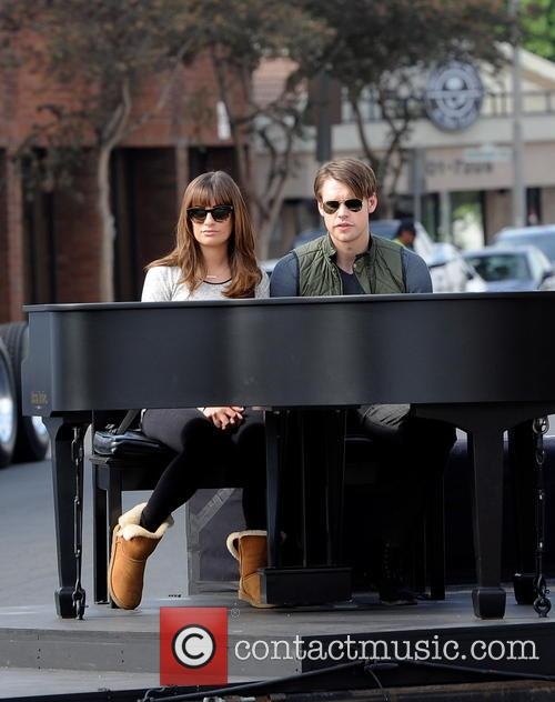 Actress Lea Michele and Chord Overstreet filming 'Glee'