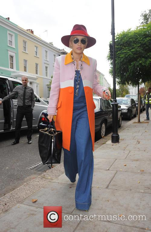 Rita Ora leaving a business meeting and heading...