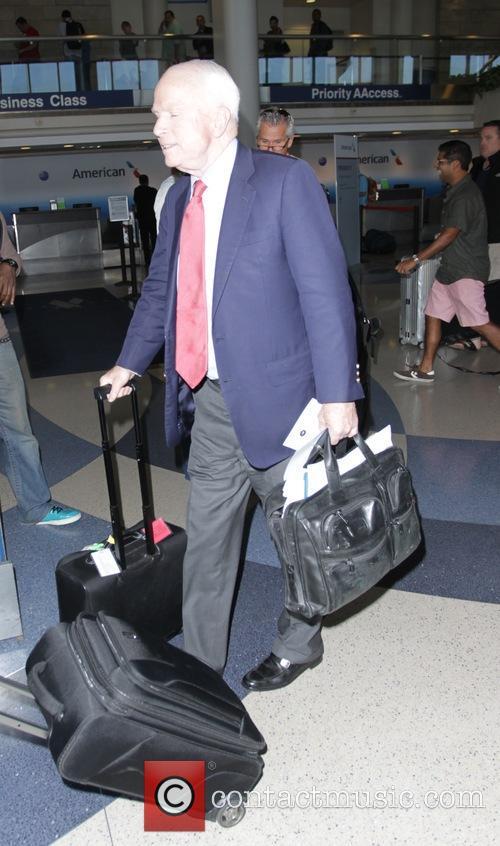 John McCain departs Los Angeles International Airport