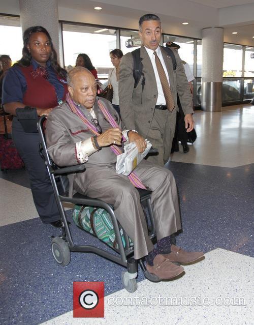 Quincy Jones departs Los Angeles International Airport
