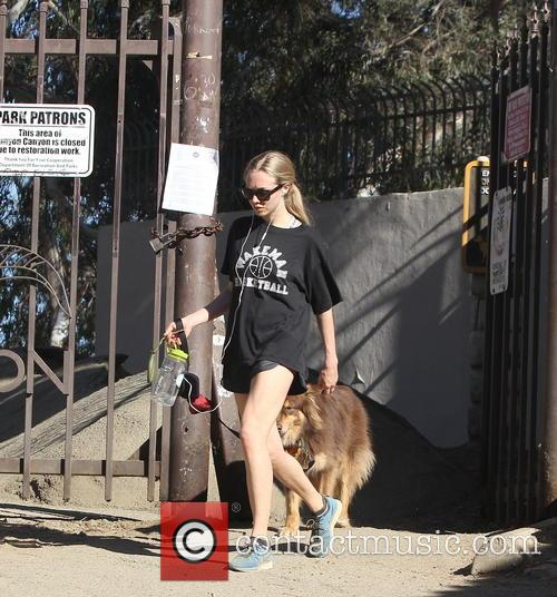 Amanda Seyfried out hiking with her dog Finn