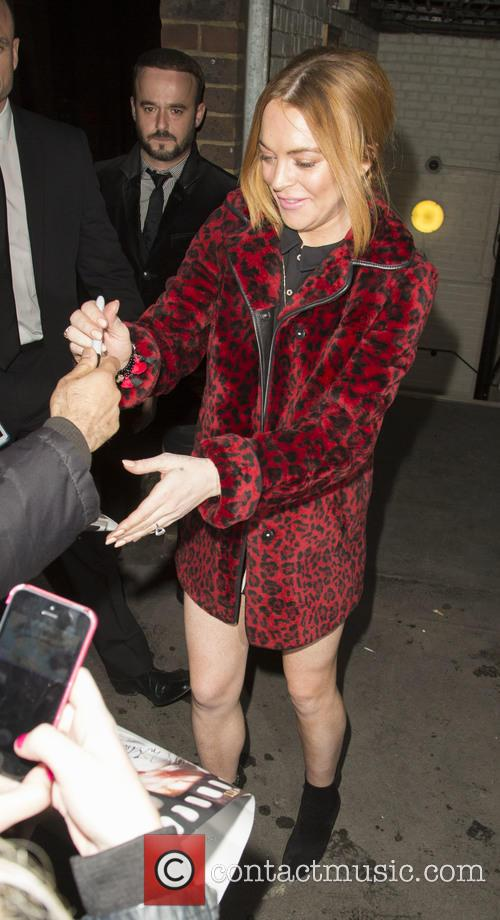 Lindsay Lohan leaves the Playhouse Theatre