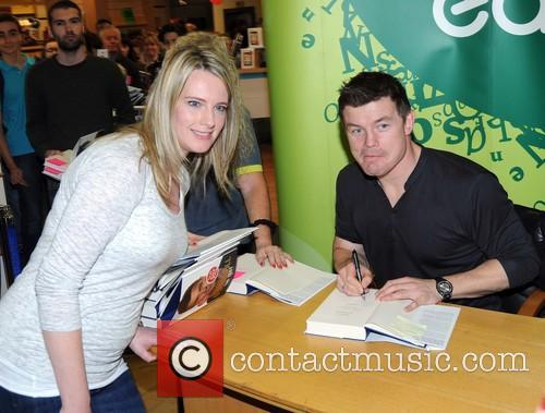 Brian O'Driscoll signing copies of his book The...