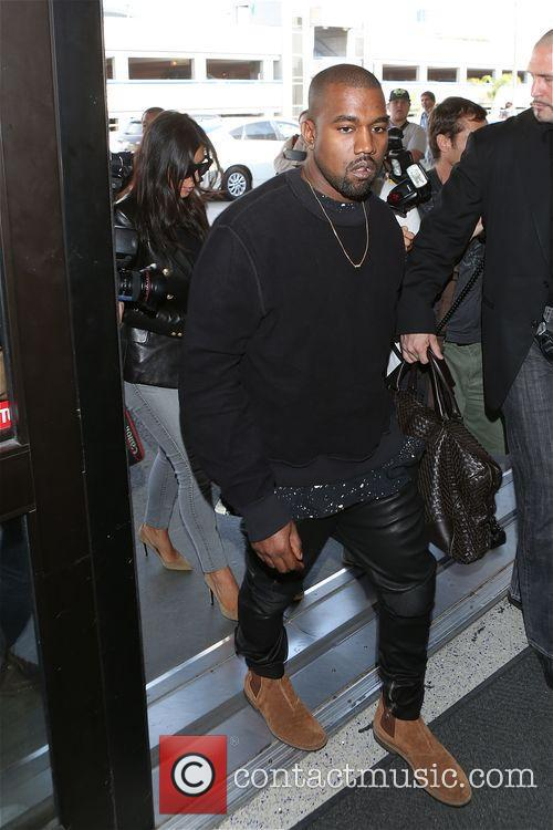 Kim Kardashian and Kanye West leave from LAX