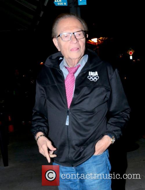 Larry King arriving at Craig's Restaurant
