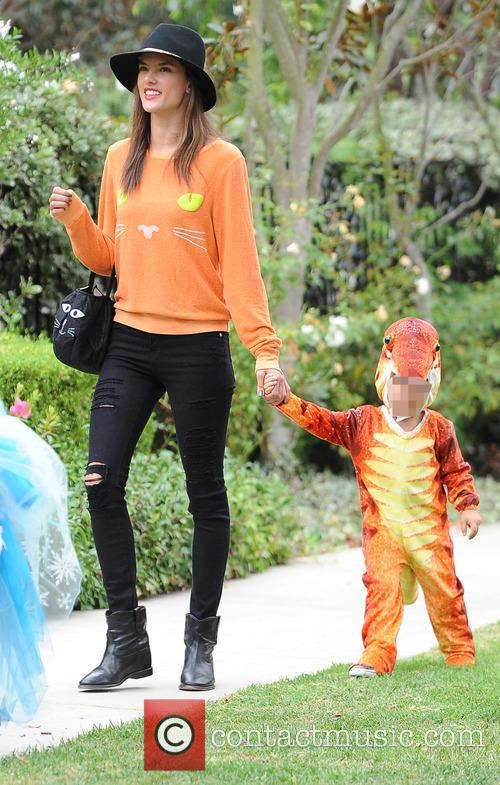 Alessandra Ambrosio attends a halloween party with her...