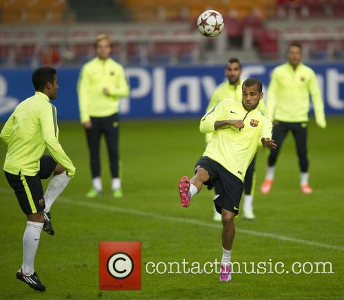 Barcelona football team training