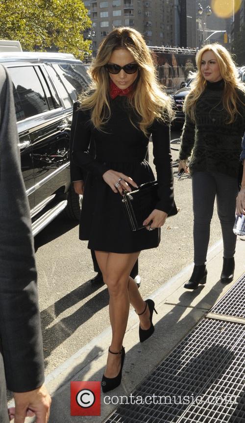 Jennifer Lopez arriving at her hotel