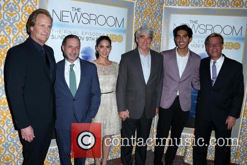 Jeff Daniels, Michael Lombardo, Olivia Munn, Sam Waterston, Dev Patel and Aaron Sorkin