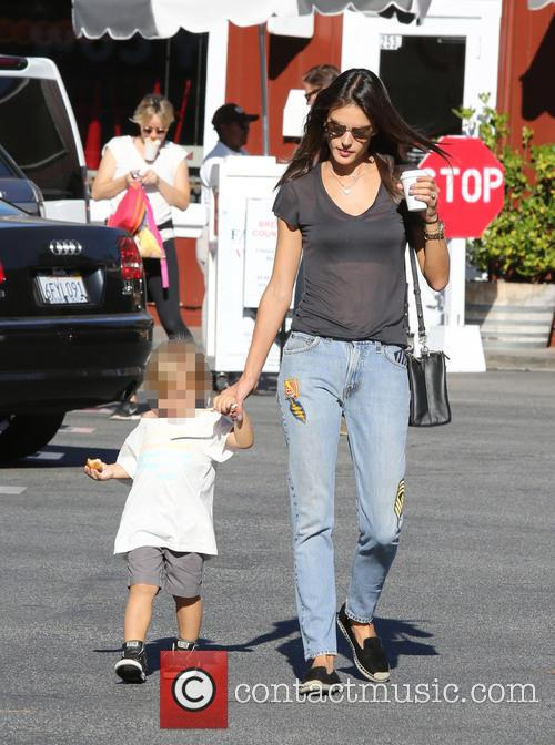 Alessandra Ambrosio shopping at Country Mart with her...