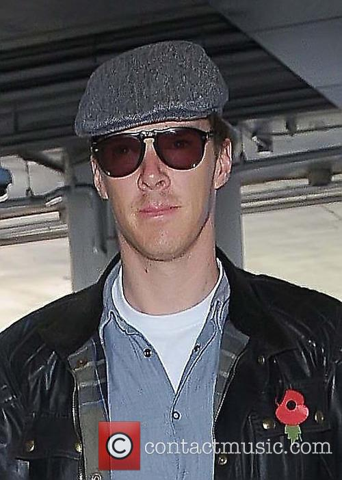 Benedict Cumberbatch arrives at Los Angeles International Airport...