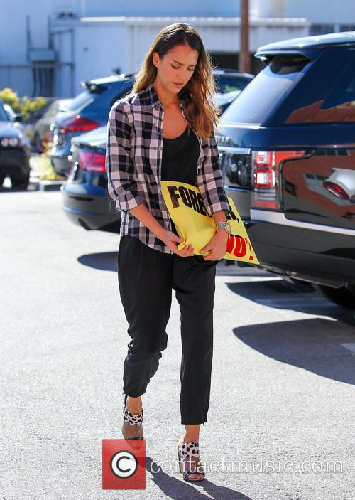 Jessica Alba arriving at her office in Santa...