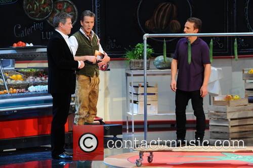 Hugh Grant, Markus Lanz and Milan Zivojinovic 2