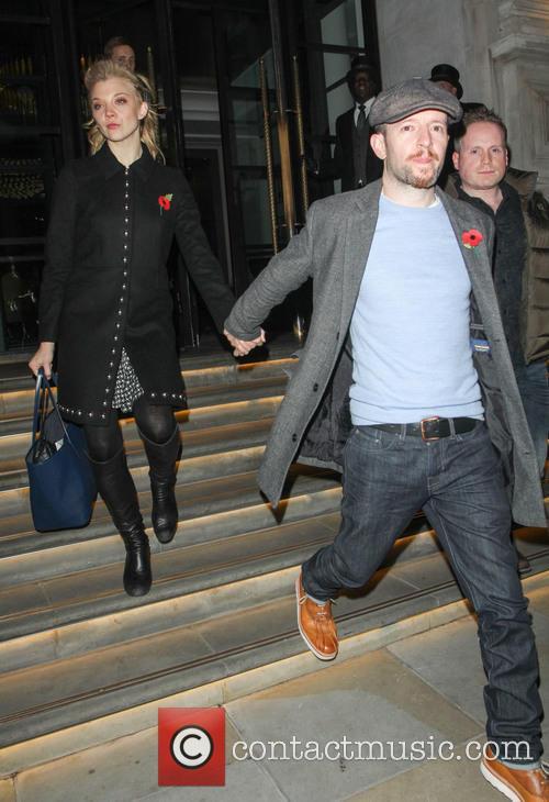 Natalie Dormer and Anthony Byrne leaving their hotel
