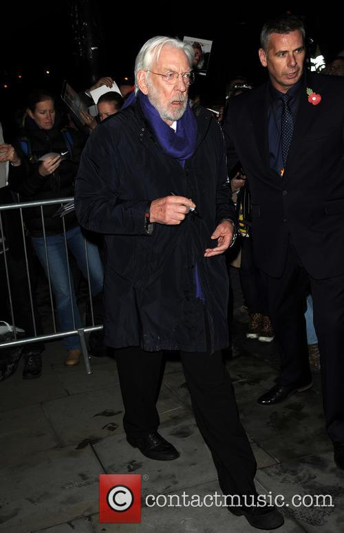 Donald Sutherland leaves a hotel in London
