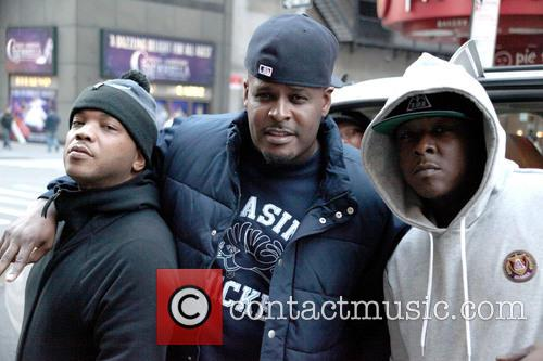 The Lox film on a street in New...