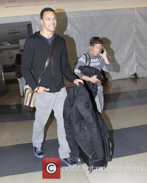 Tony Gonzalez arrives at Los Angeles International Airport