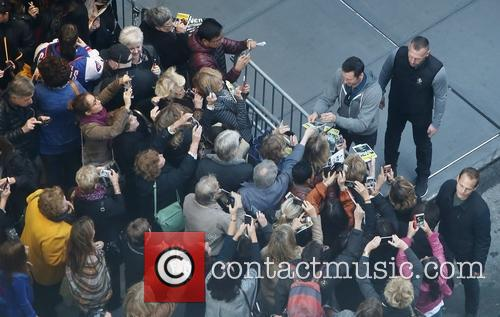 Hugh Jackman greets fans after the Broadway matinee...