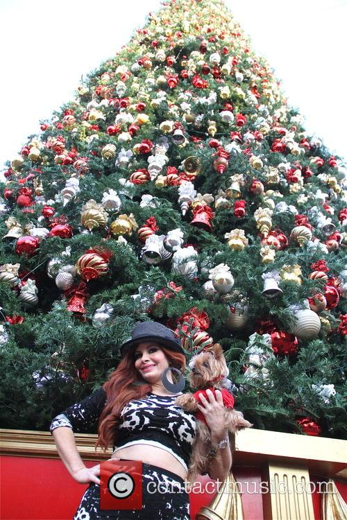 Phoebe Price poses at The Grove Christmas Tree...