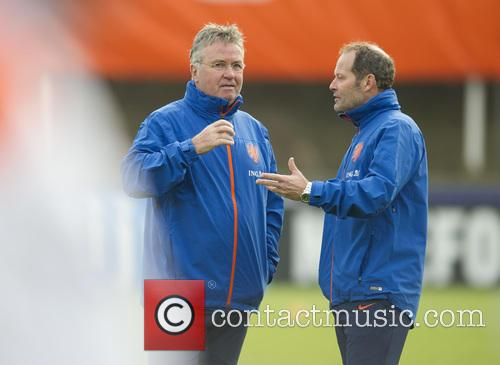 The Dutch national soccer team trains with coach...