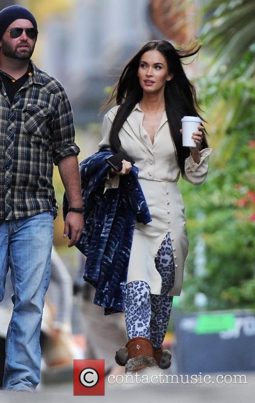 Megan Fox arriving on set for